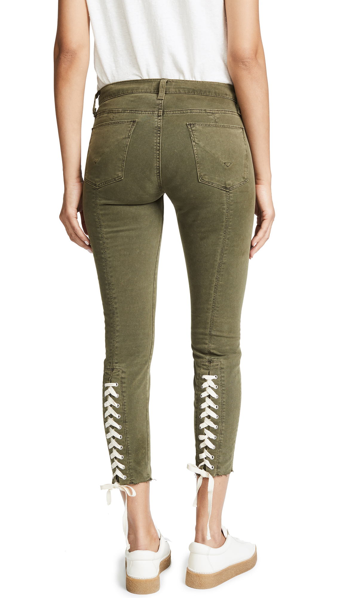 Hudson Nico Lace Up Skinny Pants In Crushed Olive