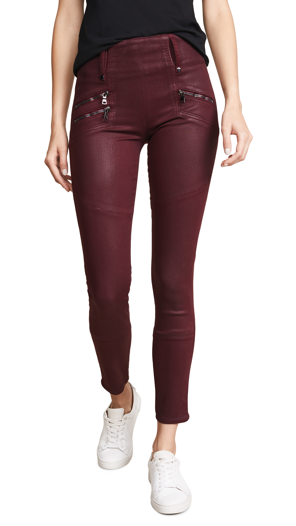 High Rise Moto Skinny Jeans in Port Wax