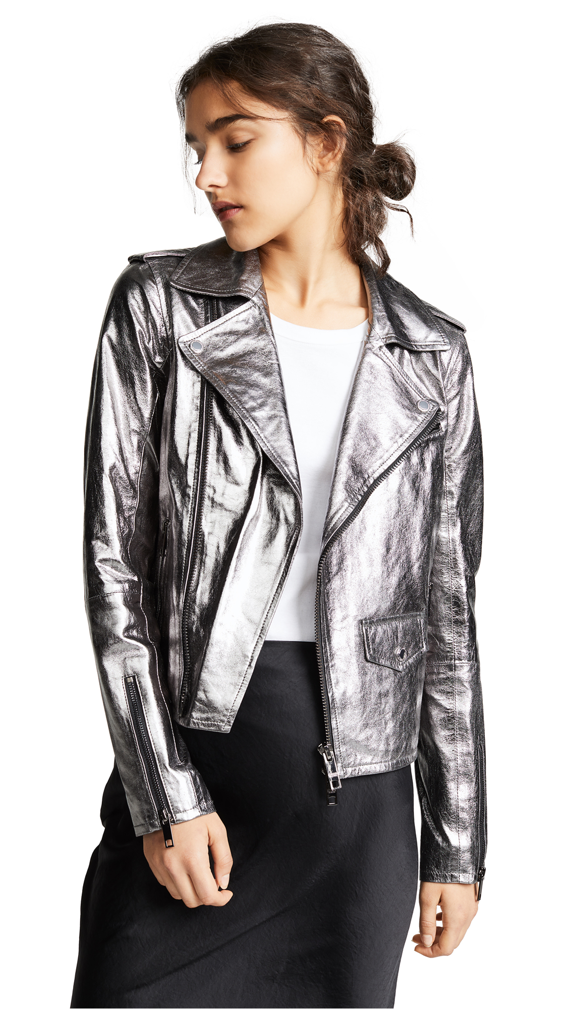 Hudson Classic Moto Jacket In Silver Metallic