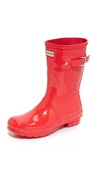 Hunter Boots Original Short Gloss Boots - Bright Coral at Shopbop