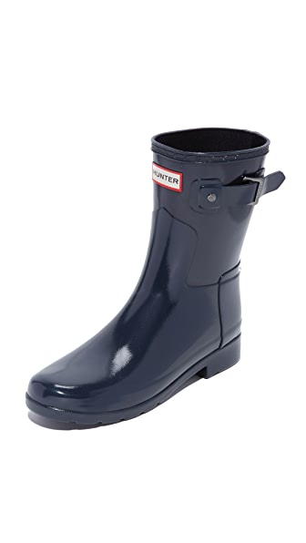 Hunter Boots Original Refined Gloss Short Boot - Navy at Shopbop