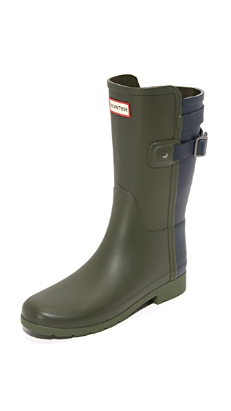 Hunter Boots Original Refined Short Boots - Dark Olive/Navy at Shopbop