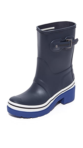 Hunter Boots Original Buoy Stripes Short Booties - Navy/Deep Cobalt/White at Shopbop