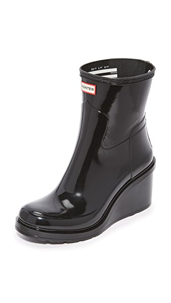 Hunter Boots Refined Mid Wedge Glossy Booties - Black