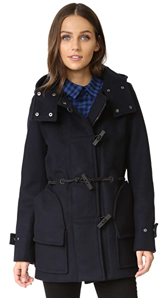 Hunter Boots Womens Original Bonded Wool Duffel Coat - Navy