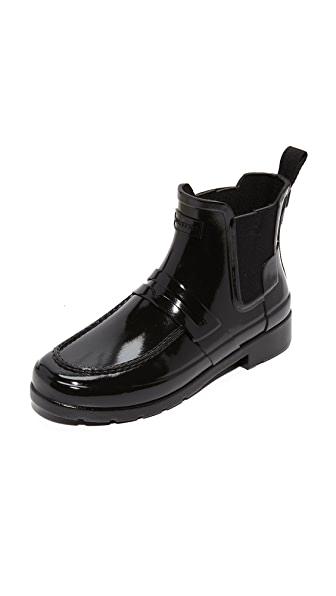 Hunter Boots Original Refined Penny Loafer Booties - Black