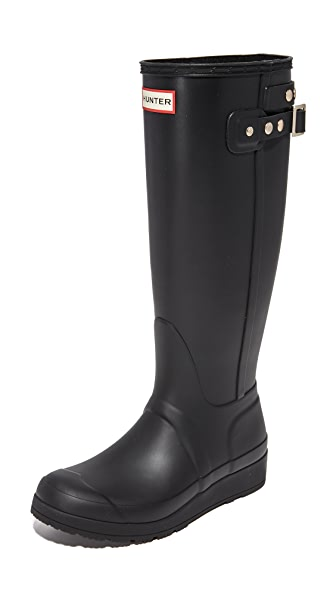 Hunter Boots Original Tall Wedge Back Strap Boots - Black