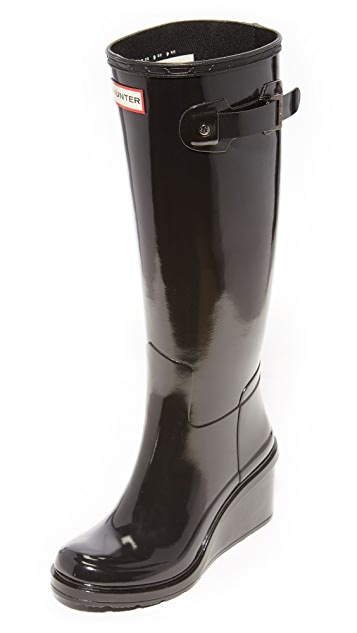 Hunter Boots Original Refined Mid Wedge Tall Boots