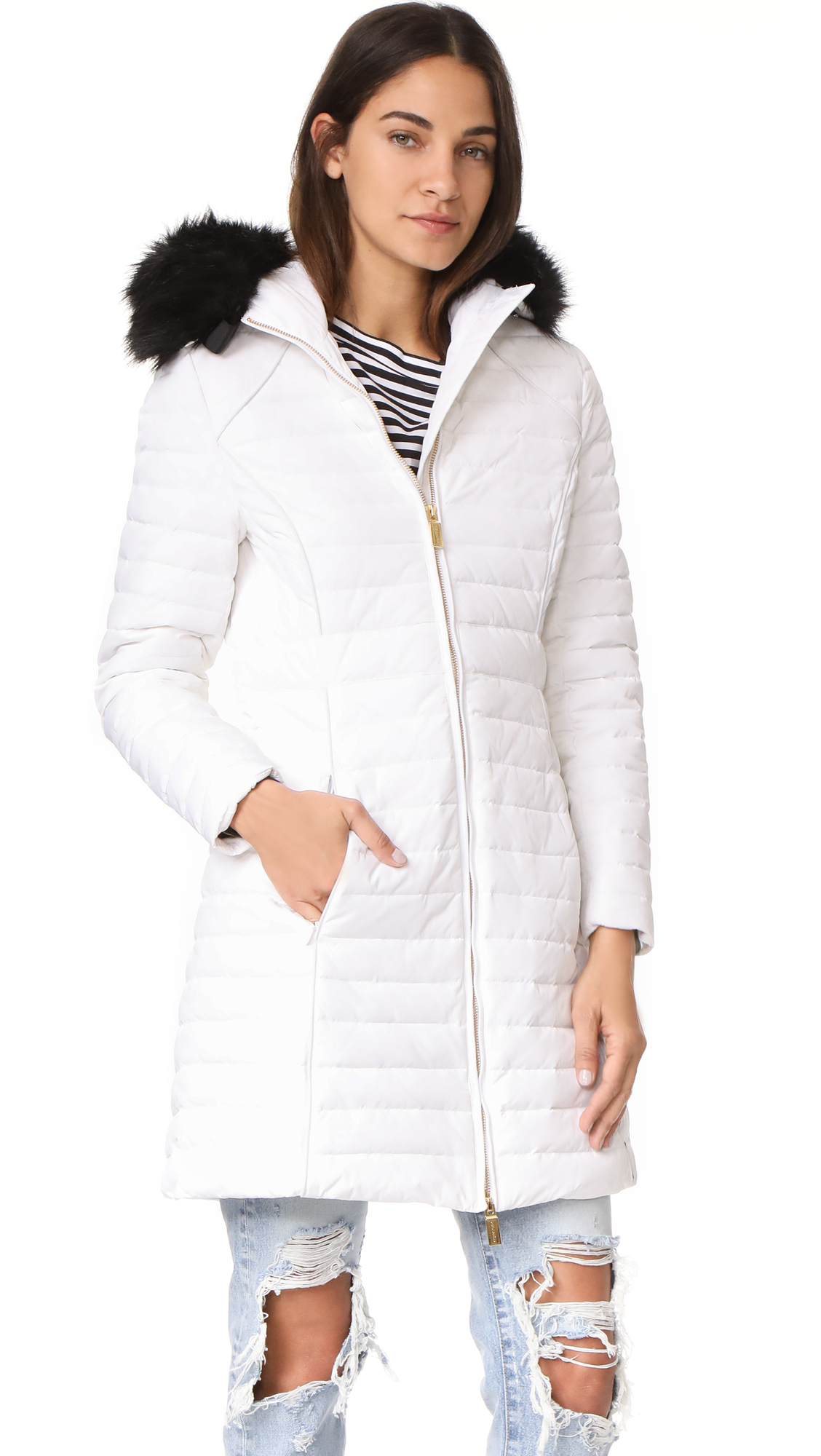 Hunter Boots Original Fitted Down Coat - White