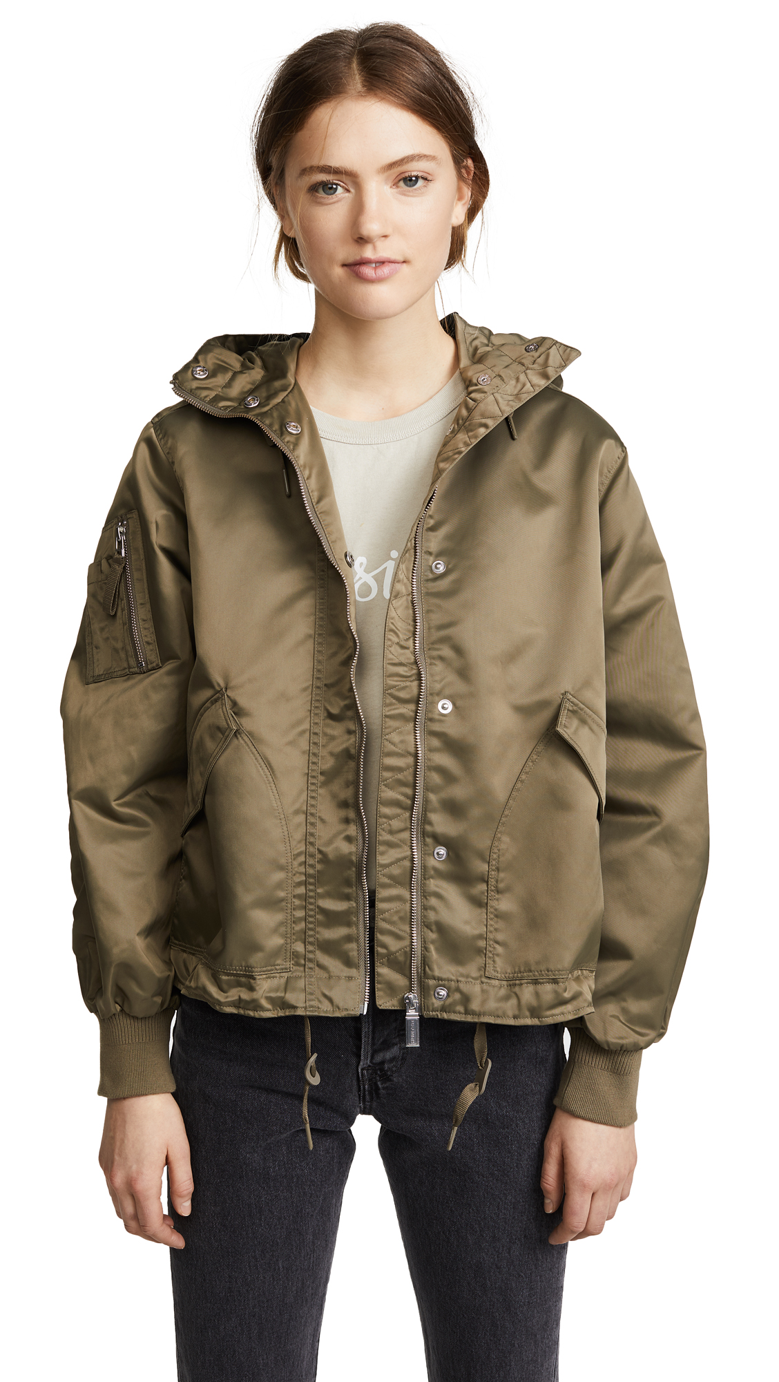 Hunter Boots Drawstring Bomber Jacket - Grey Sage