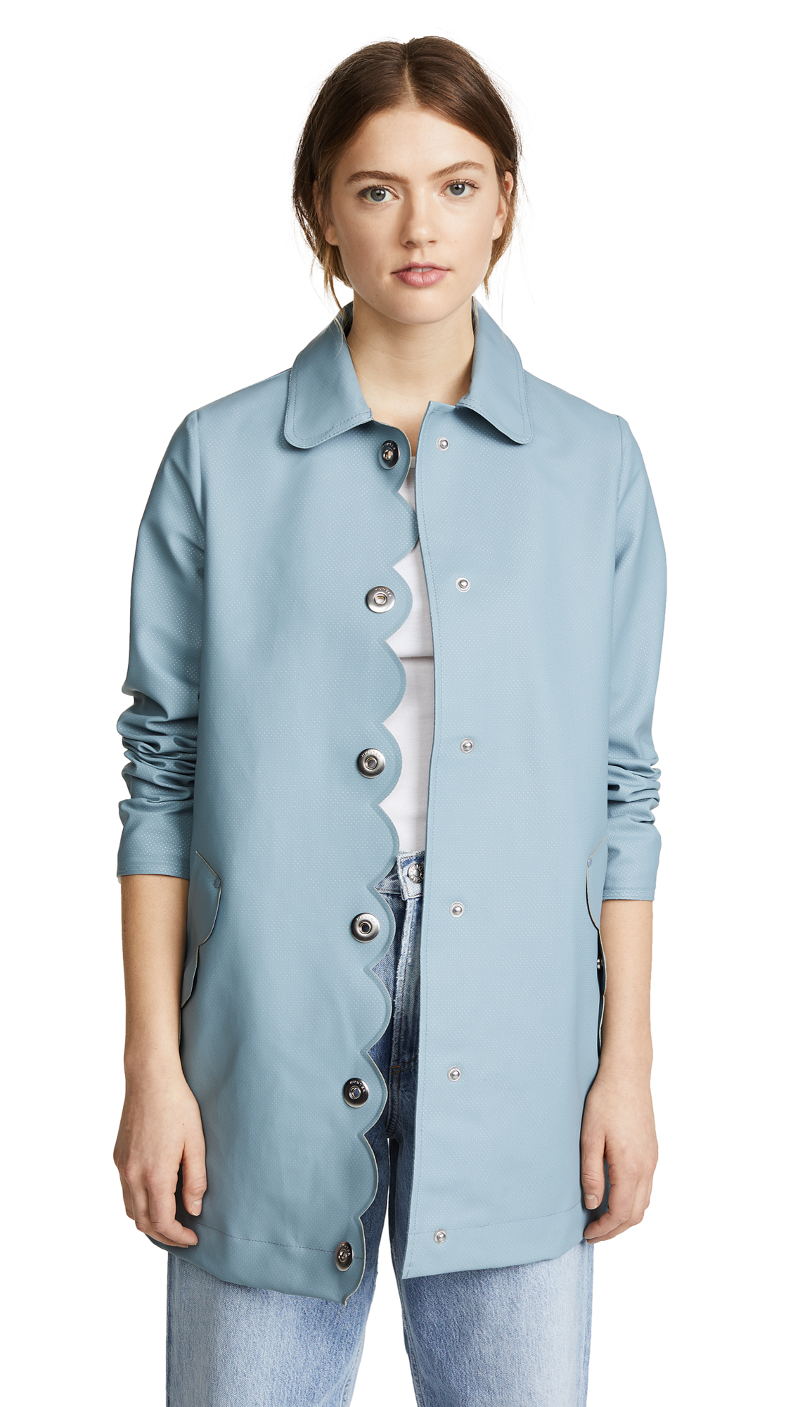 Hunter Boots Perforated A-Line Coat - Blue Mist