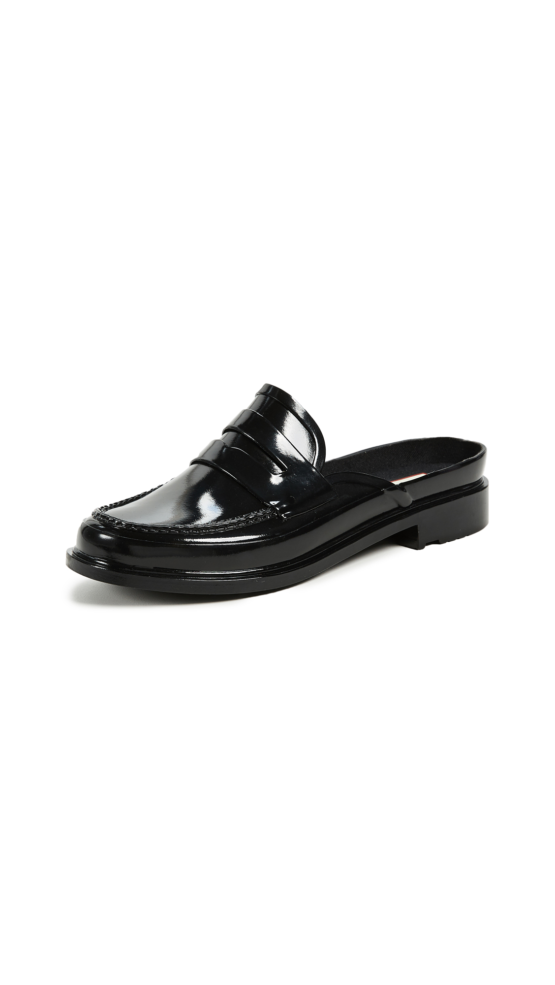 Hunter Boots Backless Gloss Penny Loafers - Black