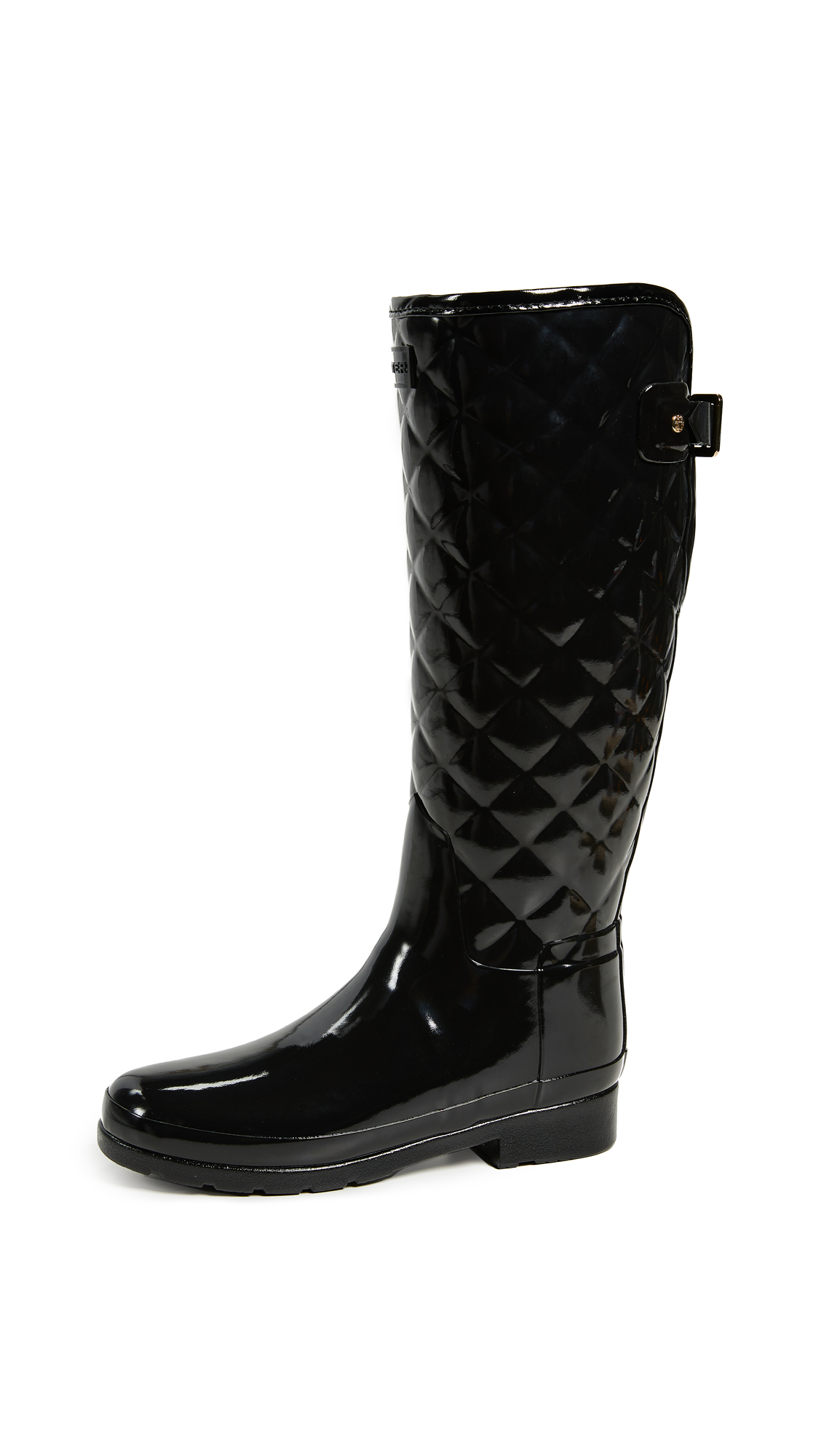 Hunter Boots Refined Gloss Quilt Tall Boots - Black