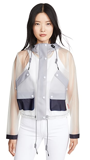 Hunter Boots Vinyl Crop Smock Colorblocked Raincoat - White/Navy/Limpit