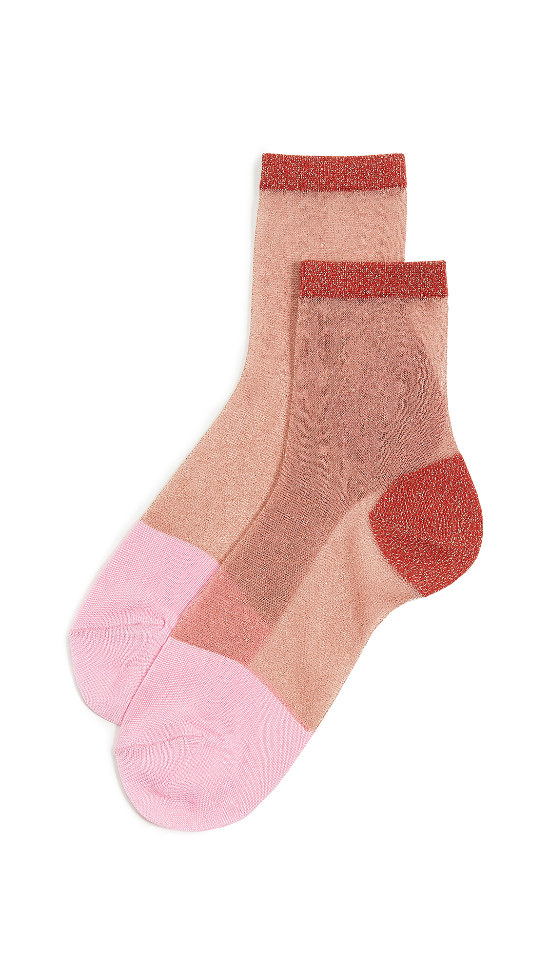 HYSTERIA Lurex Franca Ankle Socks in Red/Pink