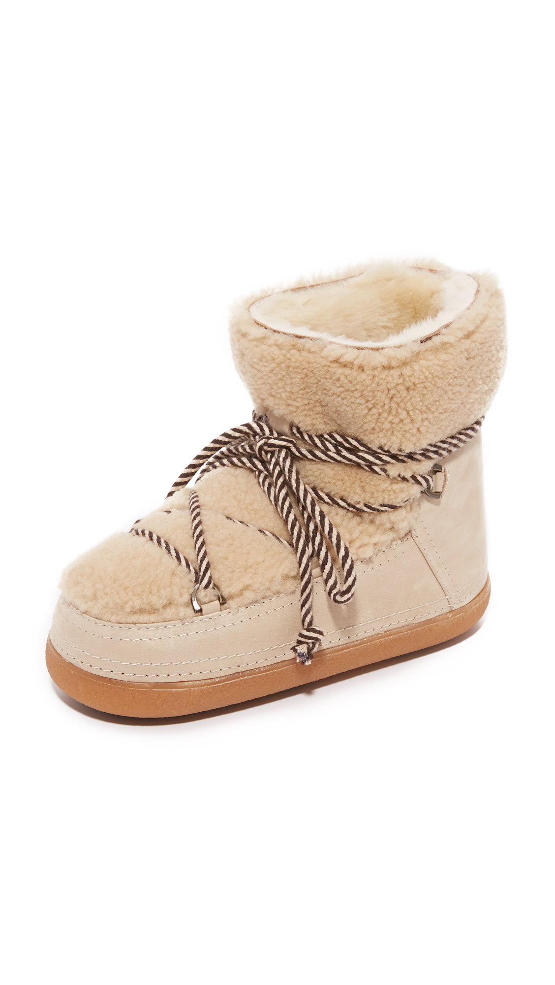 Inuiki Curly Shearling Booties - Beige