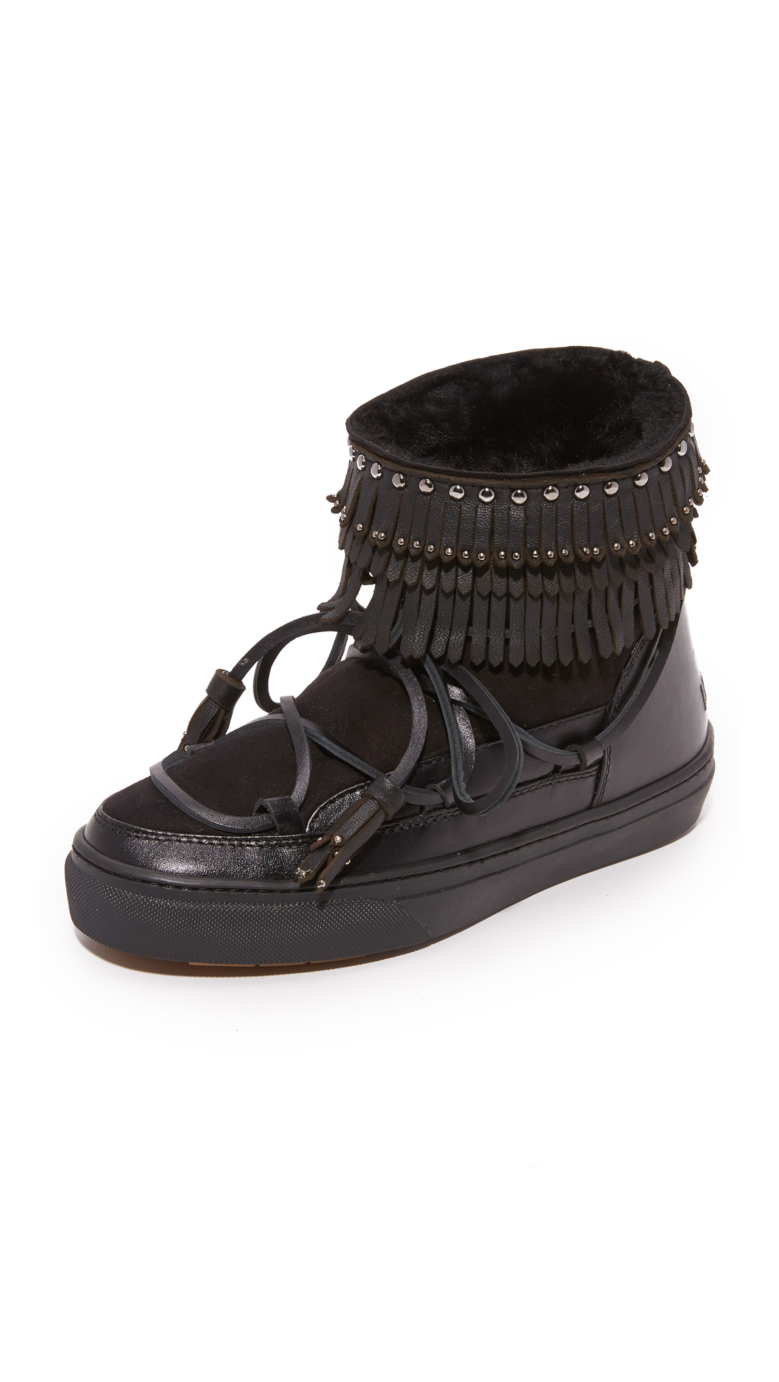 Inuiki Fray Sneaker Booties - Black