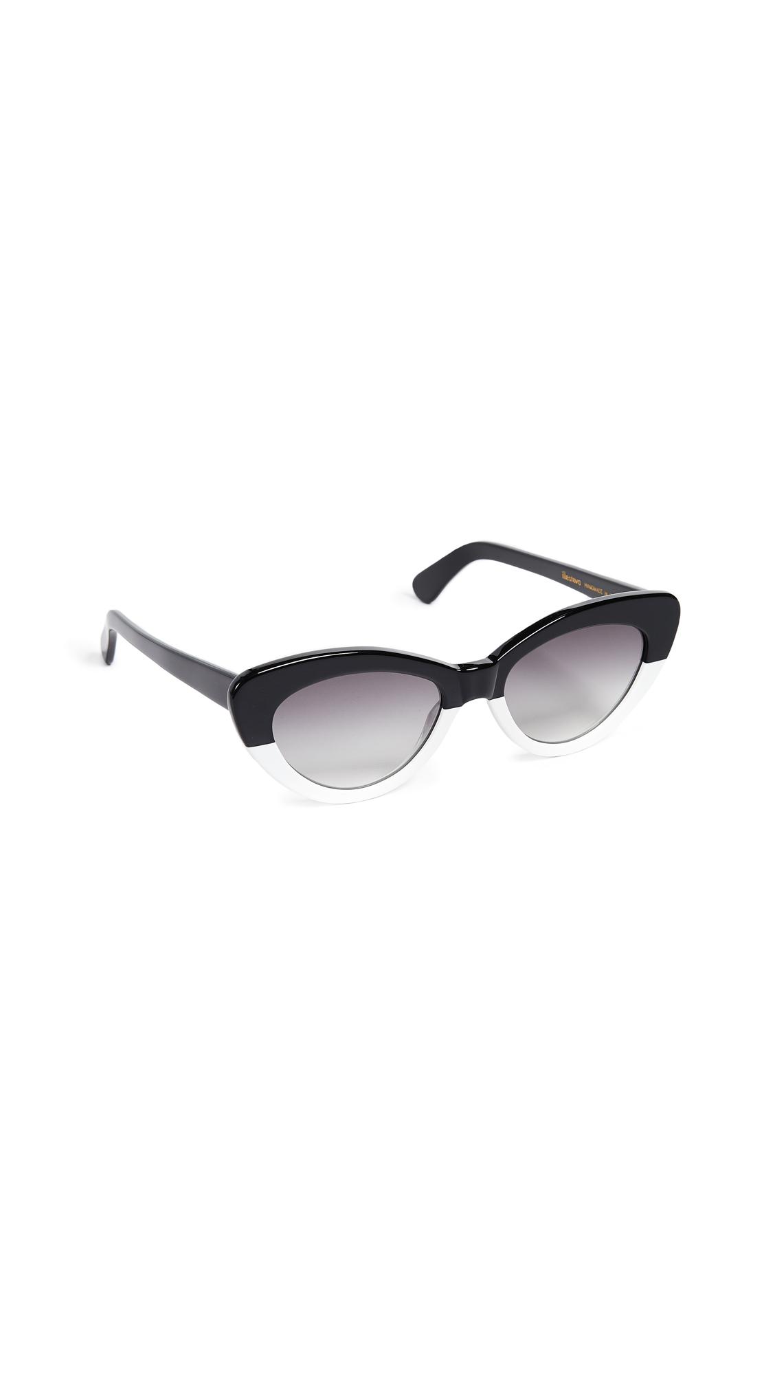 Illesteva Pamela Half & Half Sunglasses In Black White/Grey
