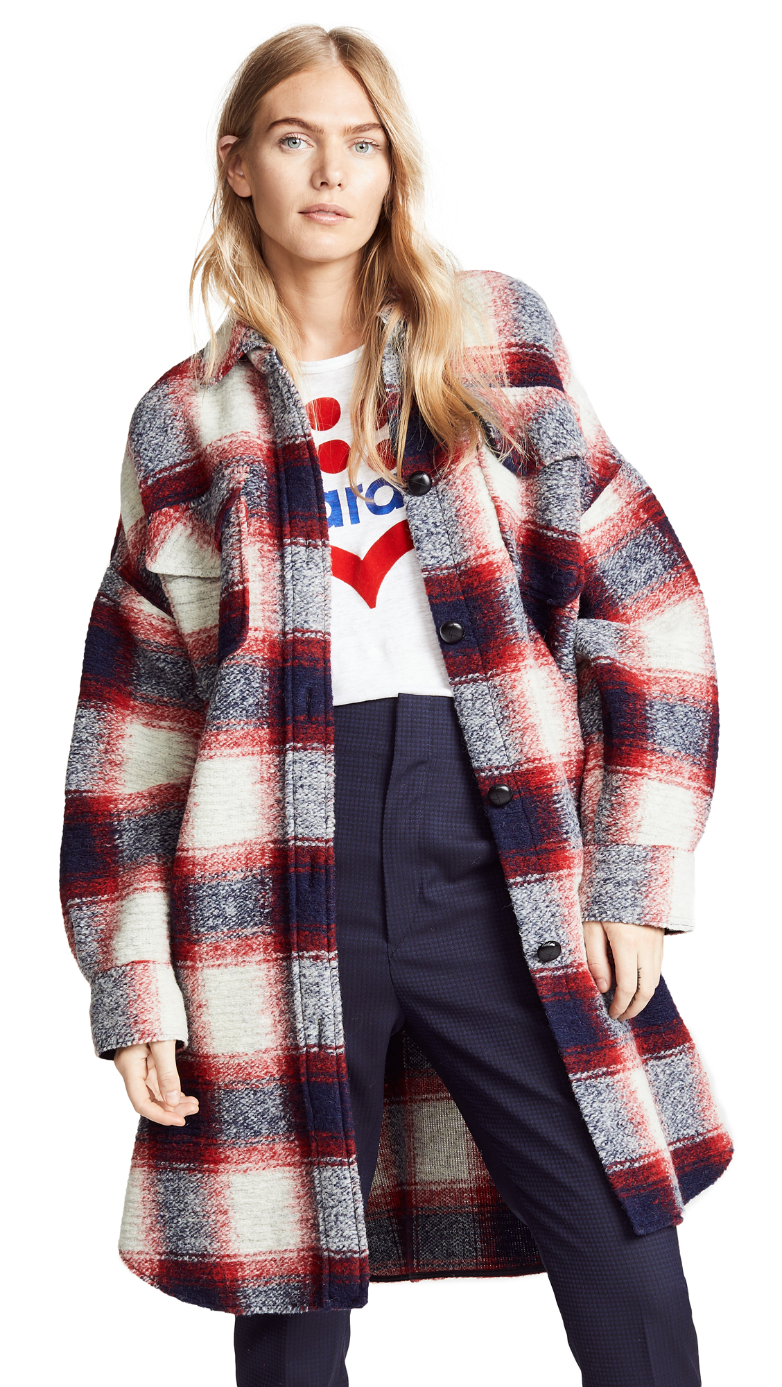 Isabel Marant Etoile Gario Coat In Red/Midnight