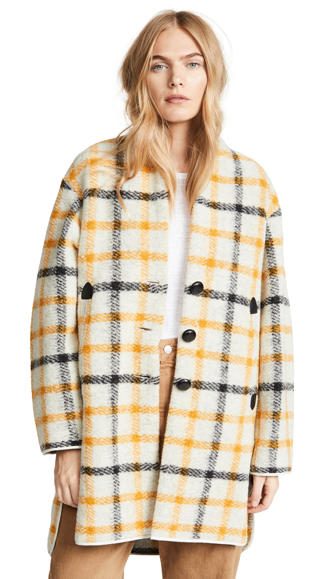 Isabel Marant Etoile Gabrie Coat In Ecru/Yellow