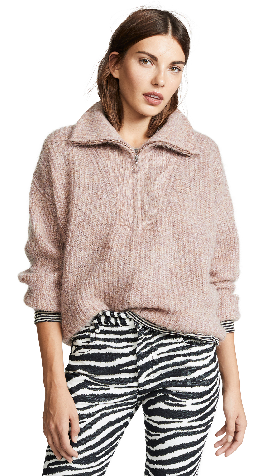 Isabel Marant Etoile Pink Mohair Cyclan Zip-Up Sweater, Greyish Pink