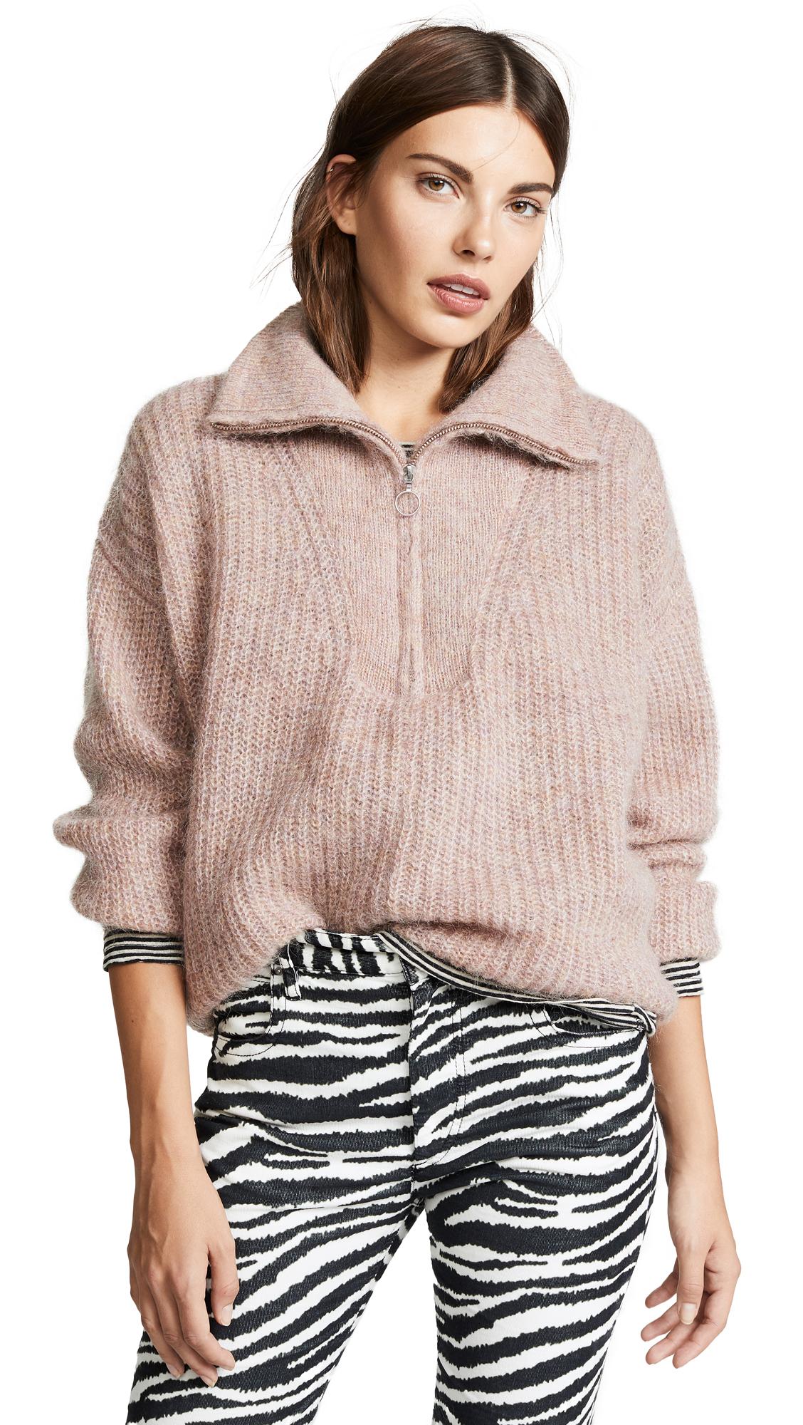 Isabel Marant Étoile - Cyclan Half Zip Mohair Blend Sweater - Womens - Light Pink, Greyish Pink