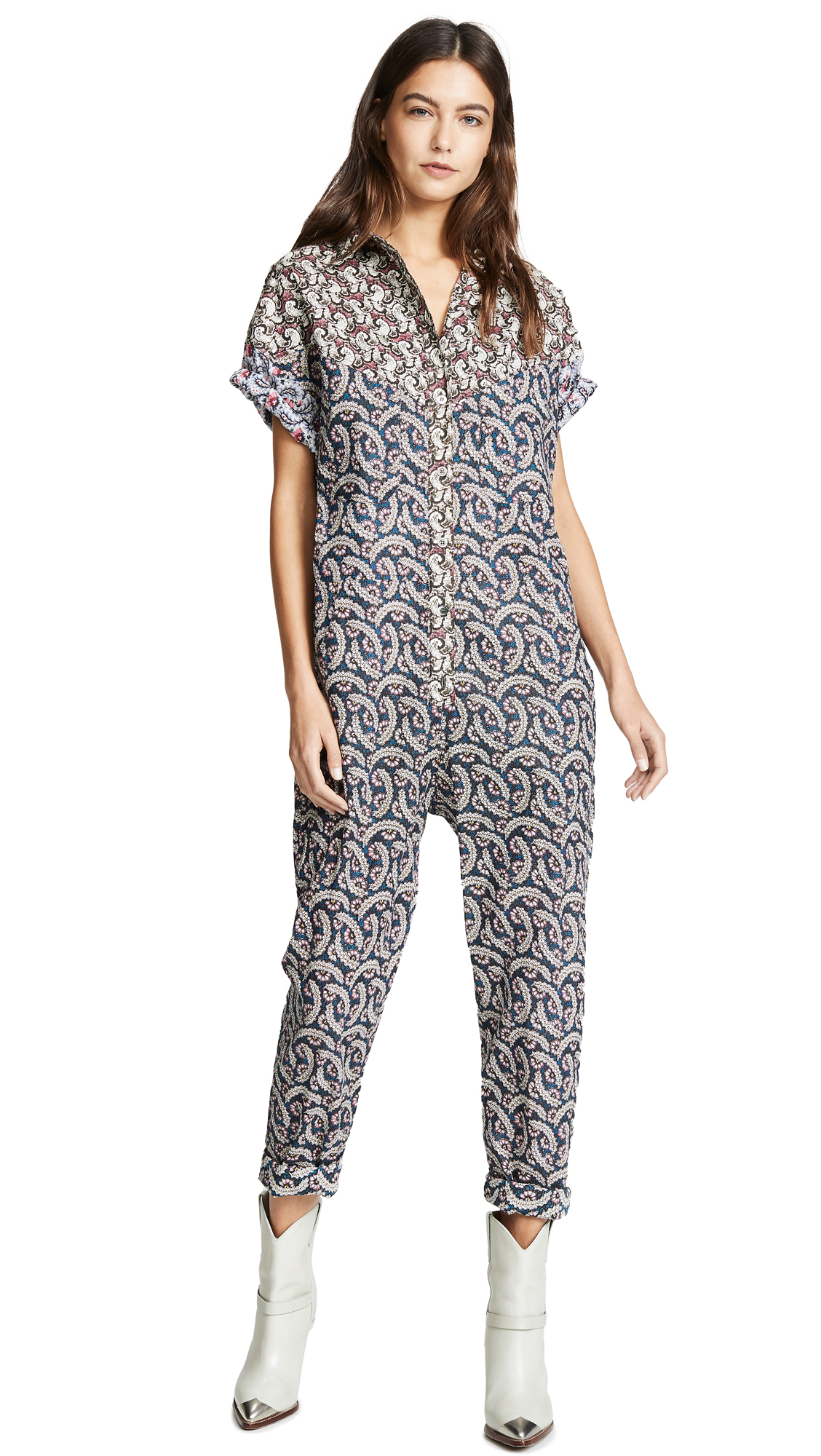 Isabel Marant Etoile Lindsie Jumpsuit In Blue,Paisley,Pink