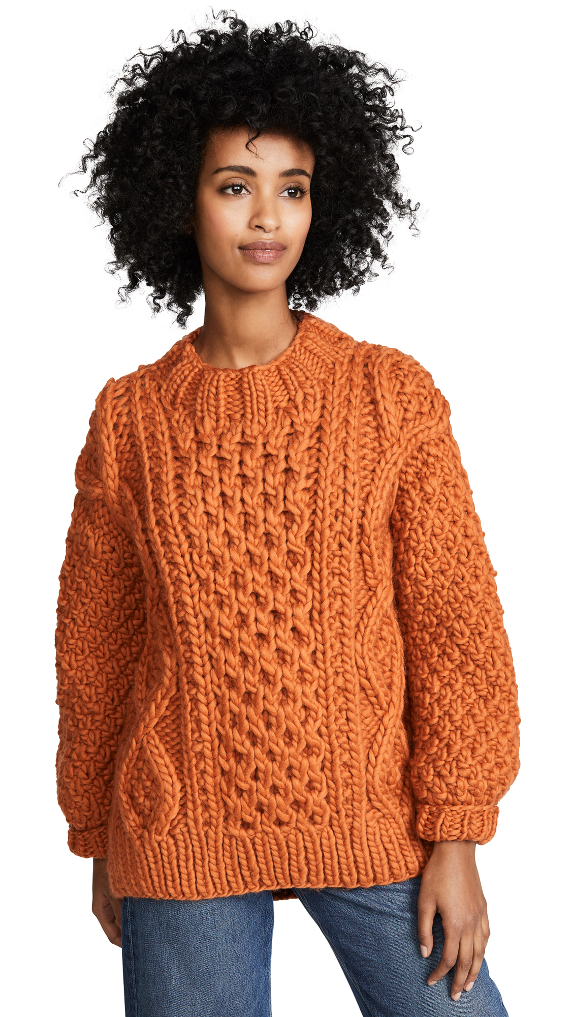 I LOVE MR. MITTENS Aran Crew Neck Sweater in Burnt Orange