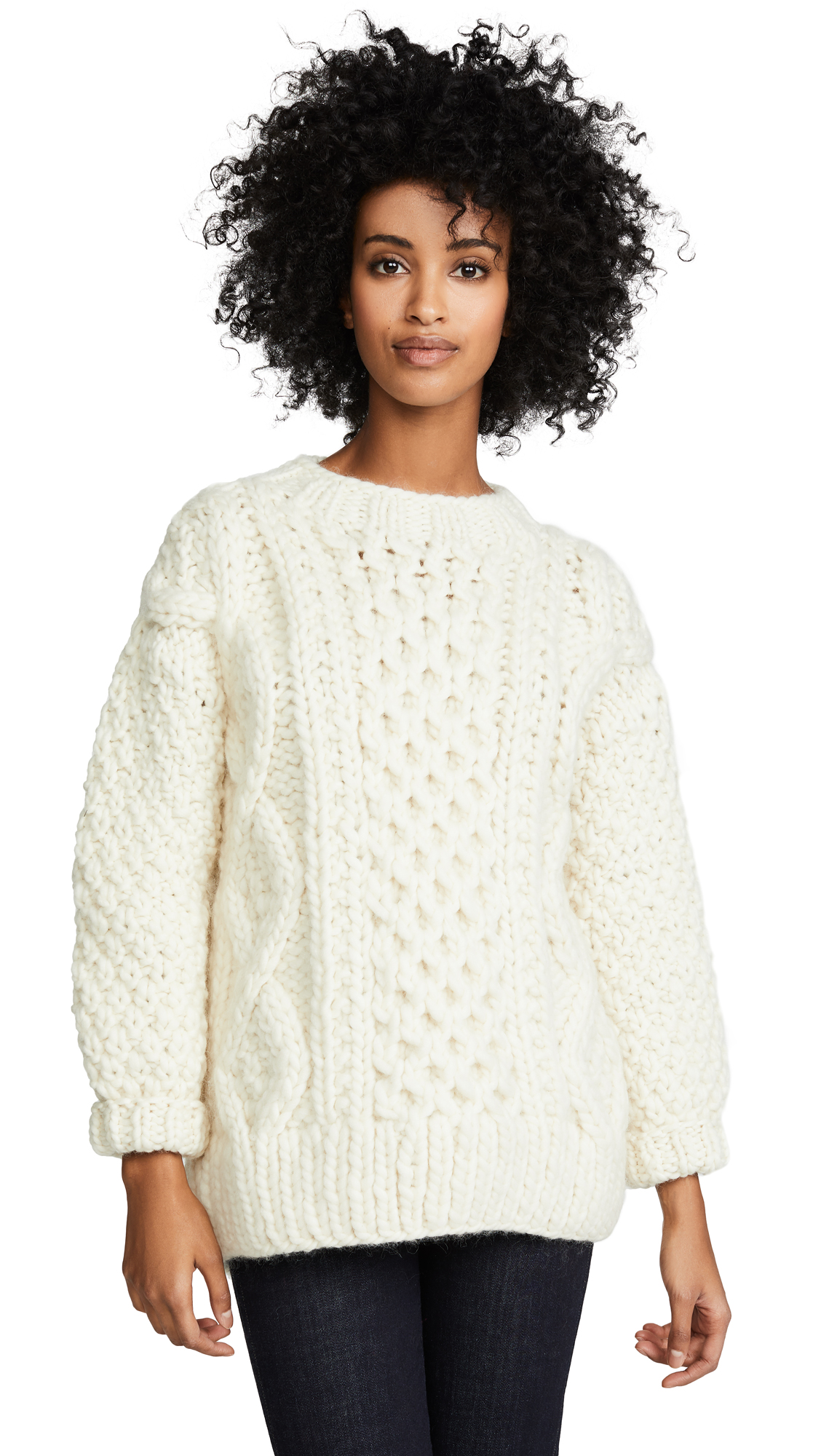 I LOVE MR. MITTENS Aran Crew Neck Sweater in Cream