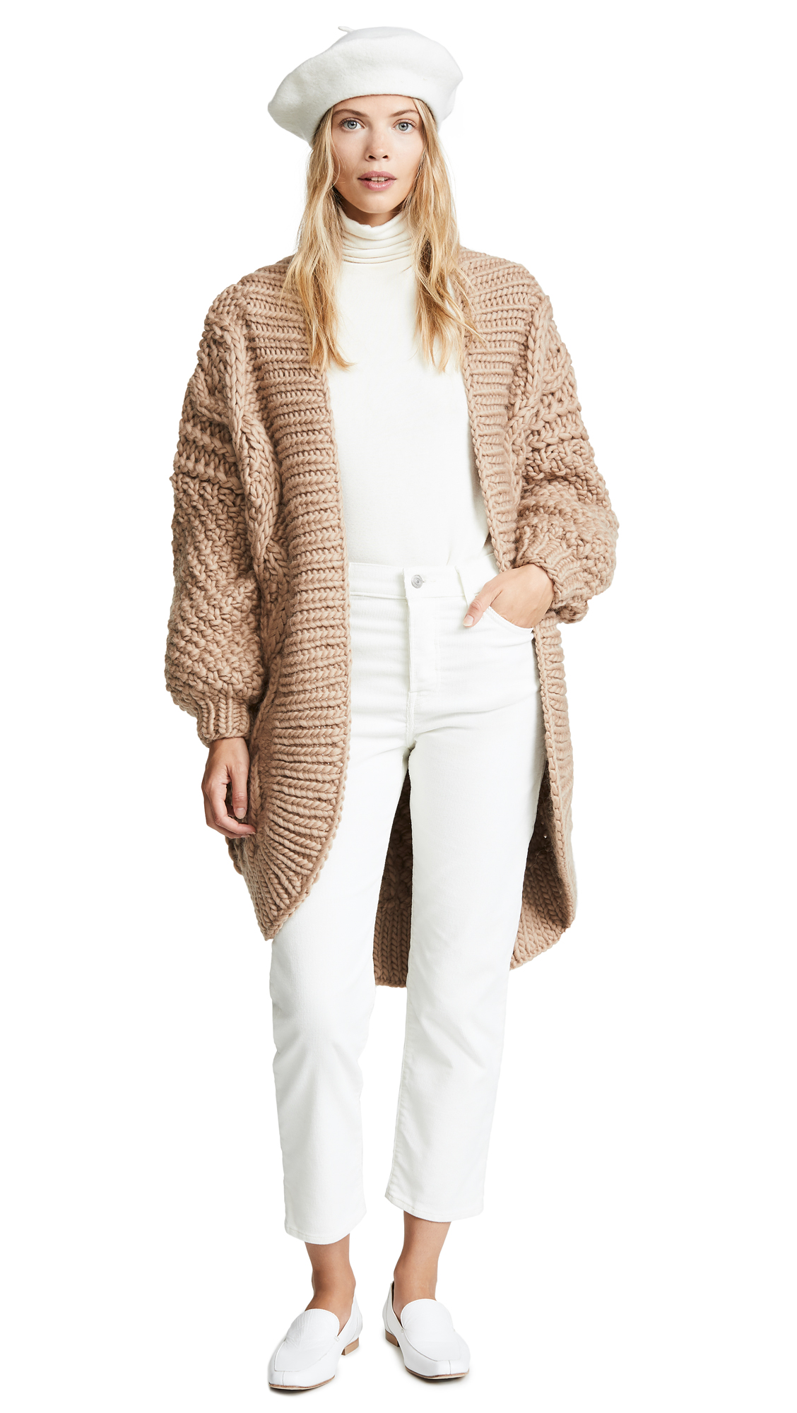 I LOVE MR. MITTENS Aran Cardigan in Taupe