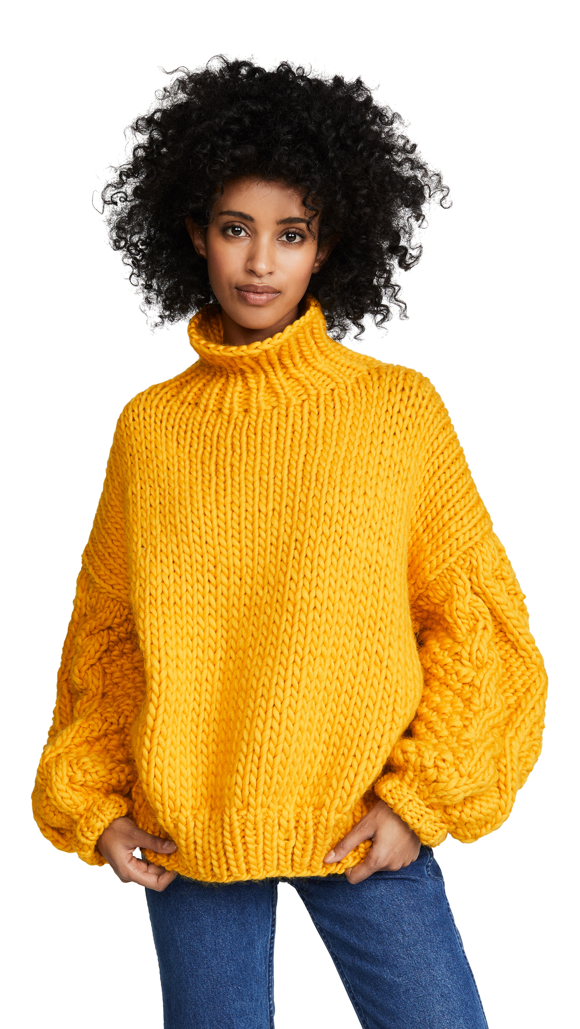 I LOVE MR. MITTENS Diamond Sleeve High Neck Sweater in Mustard