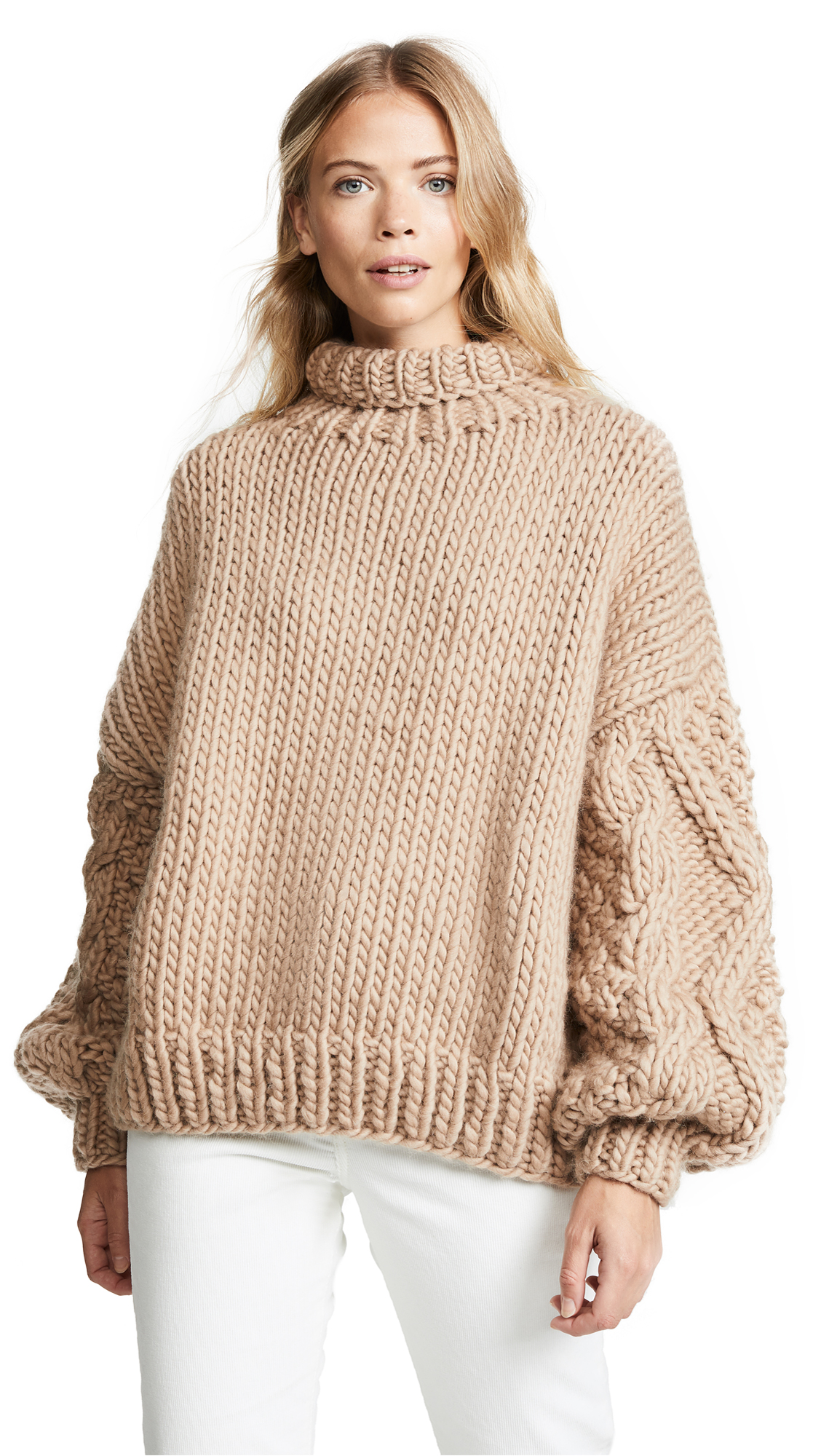 I LOVE MR. MITTENS Diamond Sleeve High Neck Sweater in Taupe