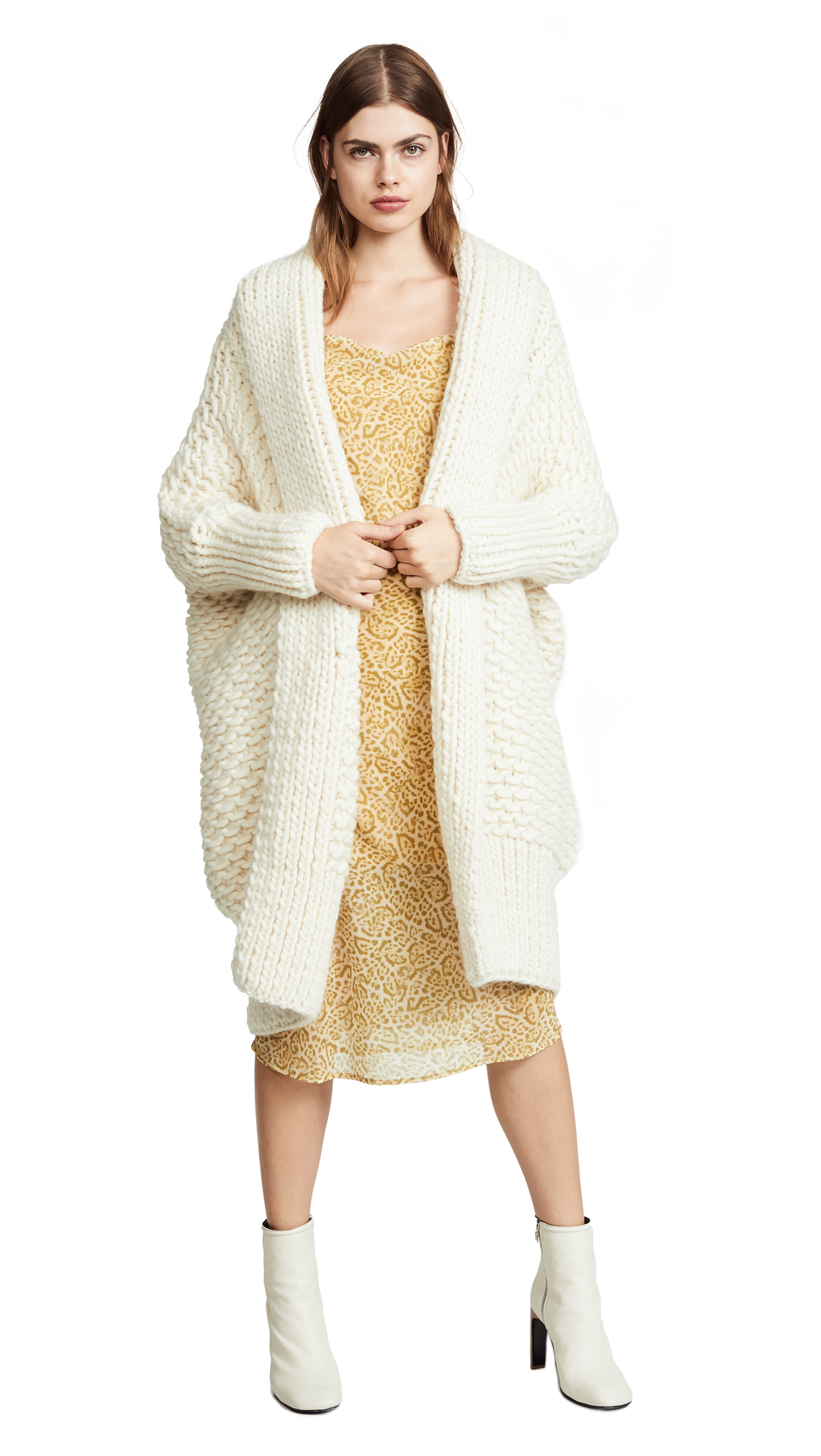 I LOVE MR. MITTENS Pearl Stitch Cardigan in Cream