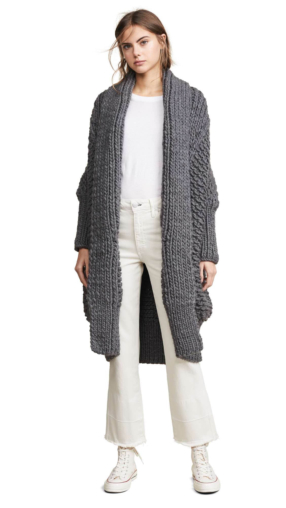 I LOVE MR. MITTENS Pearl Stitch Cardigan in Charcoal
