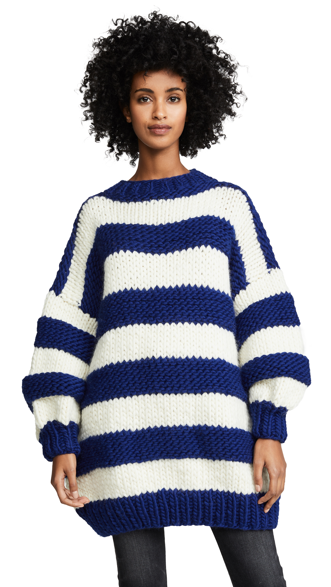 I LOVE MR. MITTENS Striped Crew Neck Sweater in Navy/Cream