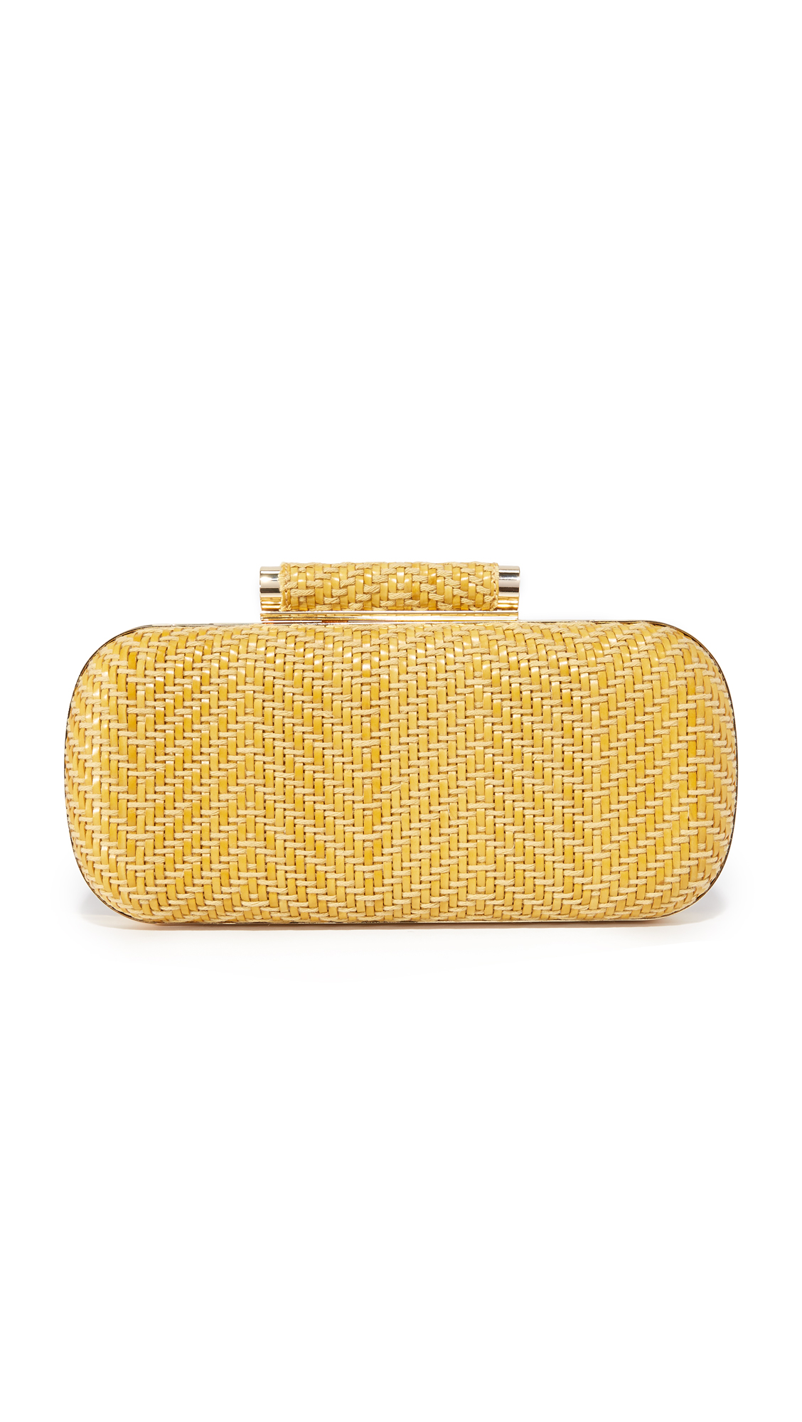 A hardshell Inge Christopher clutch, covered in a woven mix of twine and string. The top lock opens to a faille lined, 1 pocket interior. Hideaway chain shoulder strap. Fabric: Basket weave. Weight: 22oz / 0.62kg. Imported, China.