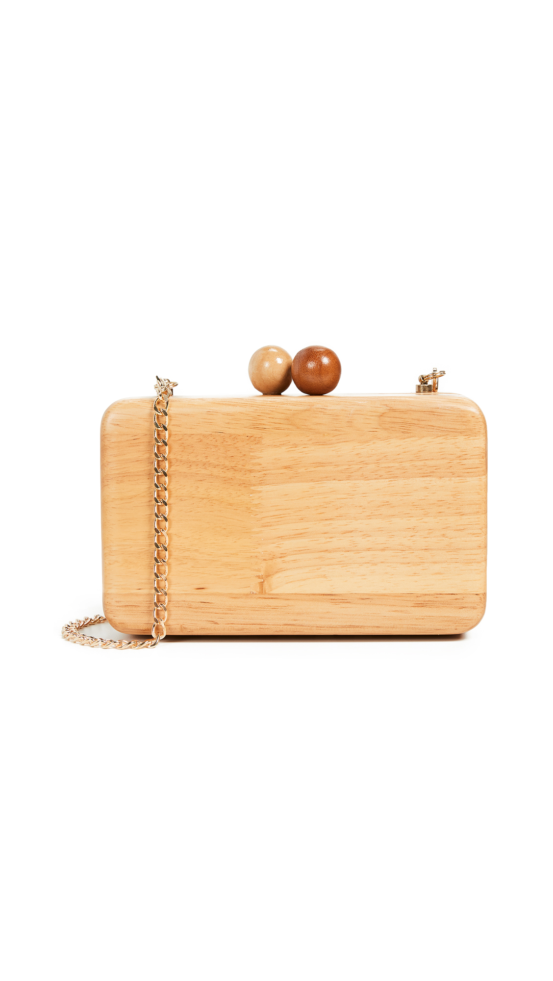 Inge Christopher Ornella Square Wood Clutch In Natural