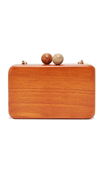 Inge Christopher Ornella Square Wood Clutch - Tan