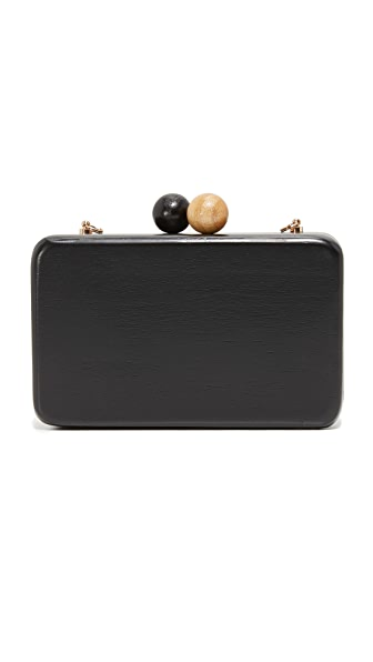 Inge Christopher Ornella Square Wood Clutch - Black