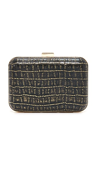 Inge Christopher Liliana Croc Embossed Clutch - Black
