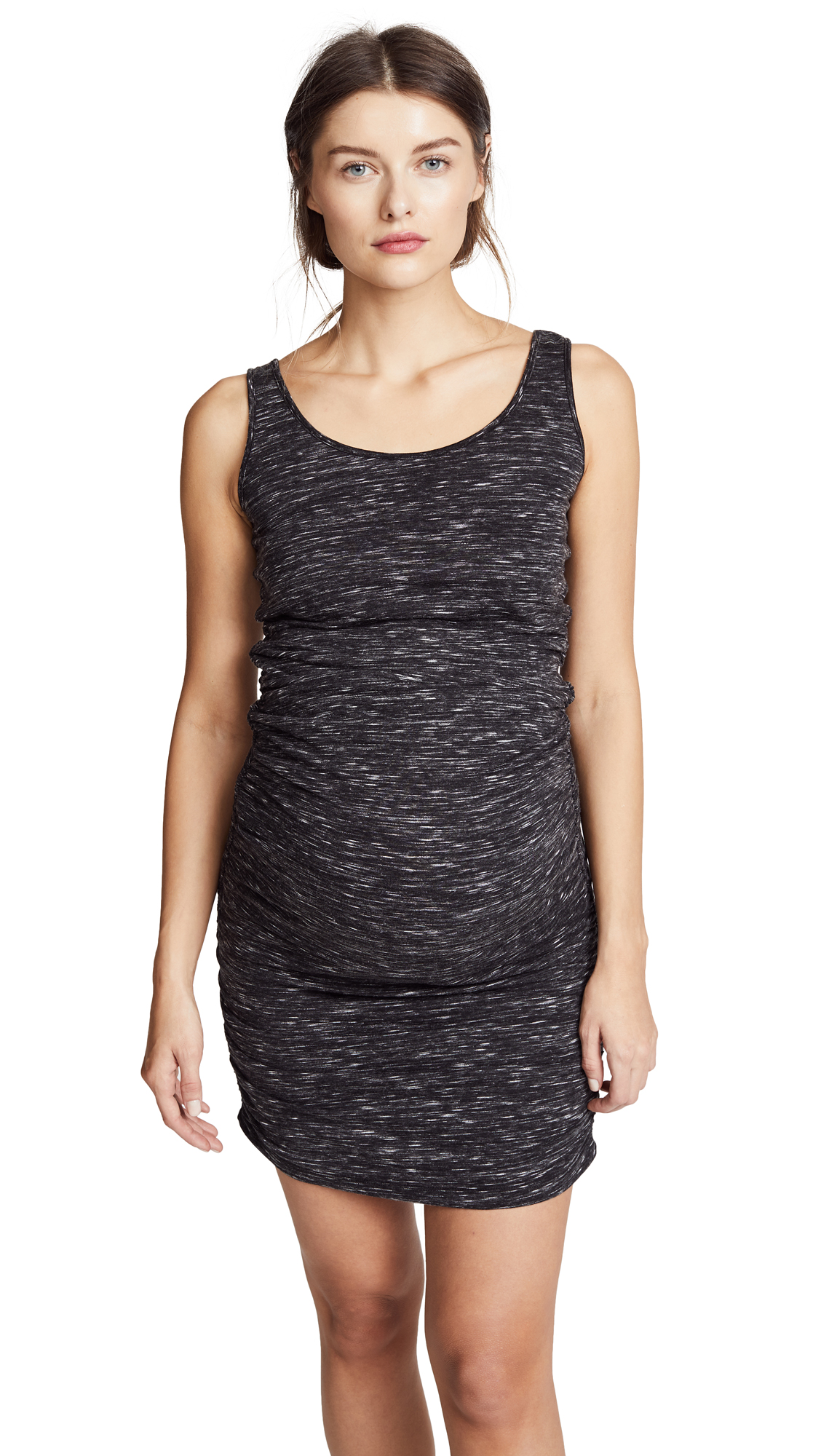 Ingrid & Isabel Marble Shirred Maternity Tank Dress - Black Marble