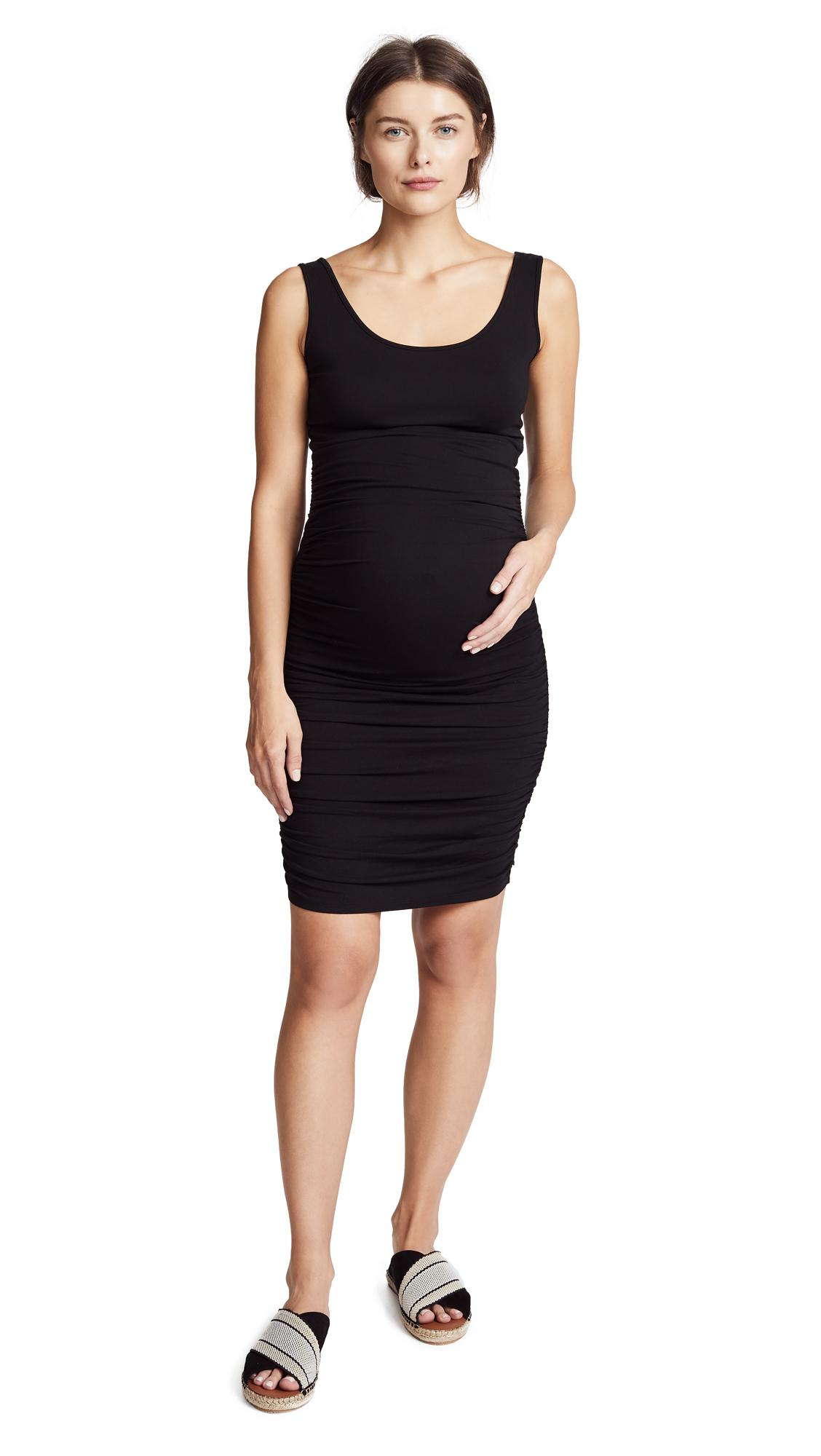 Ingrid & Isabel Shirred Maternity Tank Dress In Black