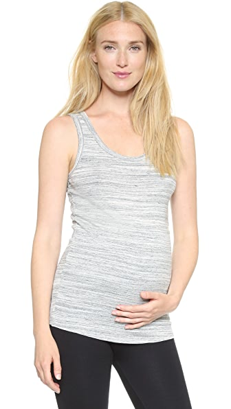 Ingrid & Isabel Scoop Neck Maternity Tank - Grey Swept Marble