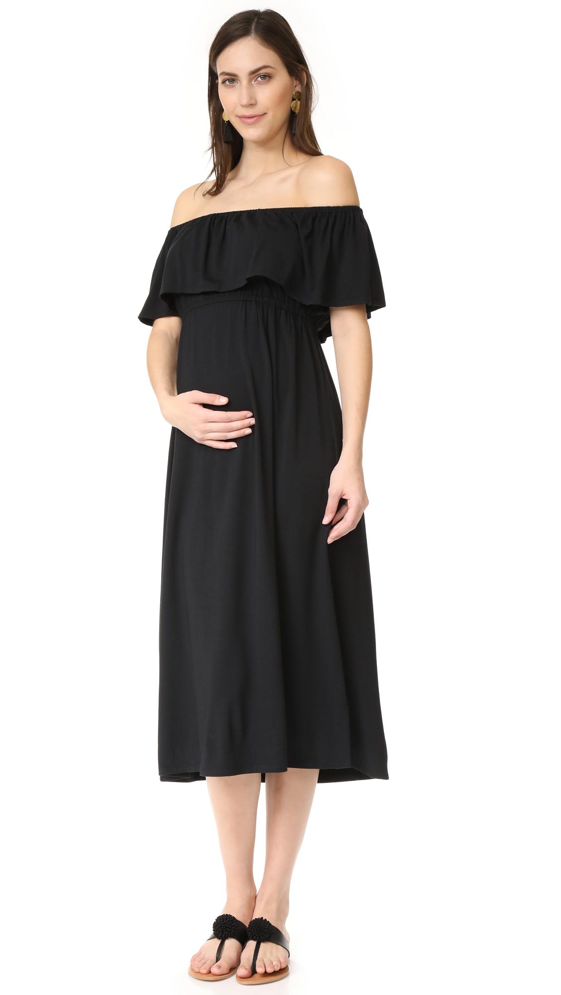 Ingrid & Isabel Off Shoulder Midi Dress - Black