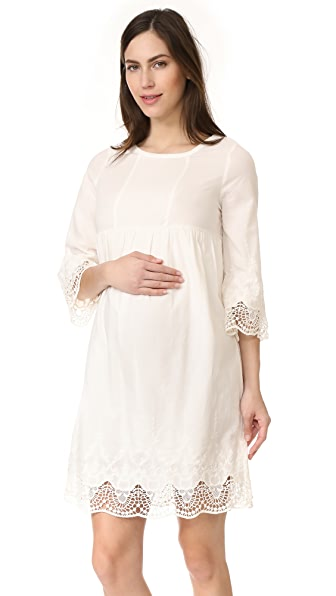 Ingrid & Isabel Lace Trim Belle Sleeve Dress - Ivory