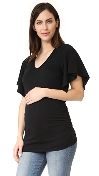 Ingrid & Isabel Flutter Sleeve Side Shirred Knit Top - Black