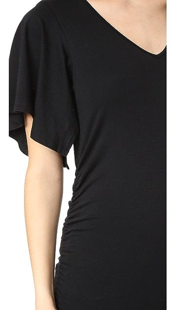 Ingrid & Isabel Flutter Sleeve Side Shirred Knit Top