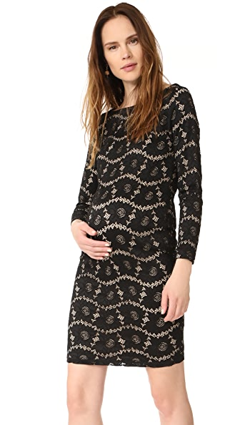 Ingrid & Isabel Boat Neck Lace Maternity Dress