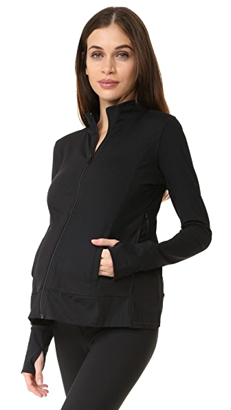 Active Side Zip Maternity Jacket, Black