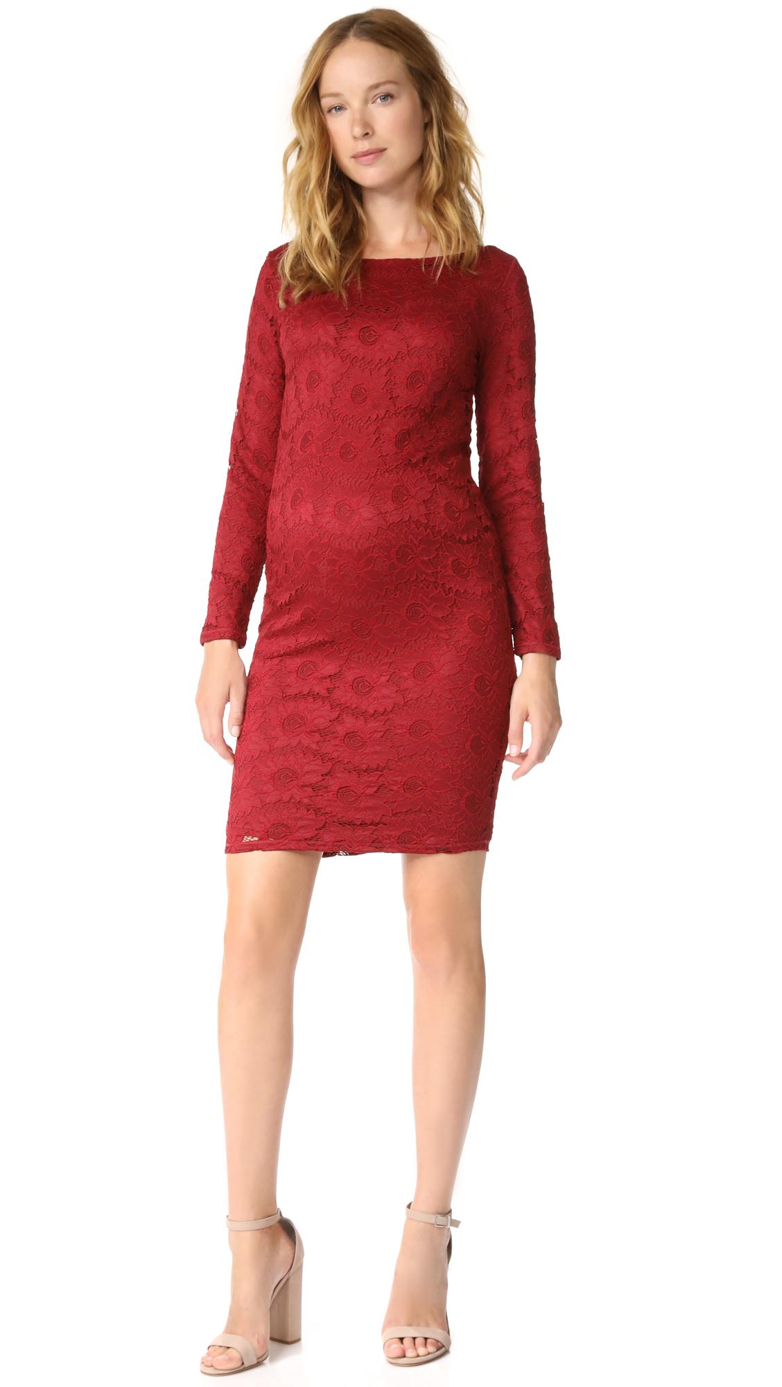 Ingrid & Isabel Boat Neck Lace Maternity Dress - Crimson